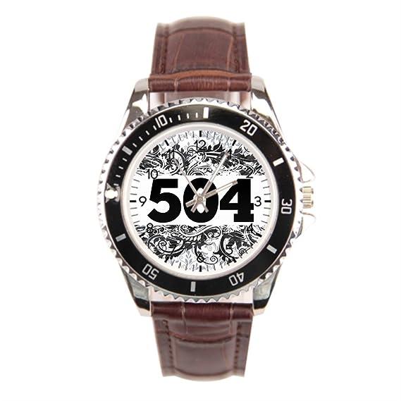 Smile Correa de piel relojes caseback té Area Code 504 muñeca relojes para hombres