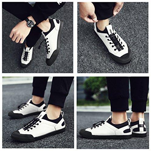 Mookry Leather Donna Baskets Shoes Da Unisex Bianco Scarpe Sneaker Uomo Passeggio Men Nero Women Mocassini Argento qpEwrx1Rq