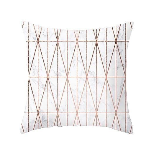 LEEDY - Funda de cojín geométrica con Textura de mármol para sofá de salón o Dormitorio con Cremallera Invisible de 45,7 x 45,7 cm, poliéster, G, ...