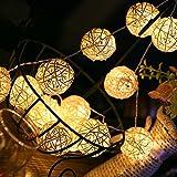 Solar String Lights,AMZSTAR 20ft 30 LED Rattan Ball Globe Decorative Fairy String Light , Outdoor Lamp for Garden Home