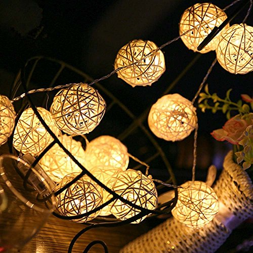 Solar String Lights,AMZSTAR 20ft 30 LED Rattan Ball Globe Decorative Fairy String Light , Outdoor Lamp for Garden Home by AMZSTAR