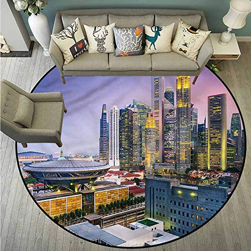 Living Room Round Mat,Urban,Skyline of Singapore,Machine-Washable/Non-Slip,3'7