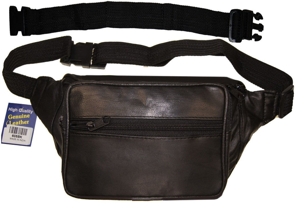 Leather Fanny Pack Waist Belt Bag Travel Pouch With 18'' Long Extension Belt
