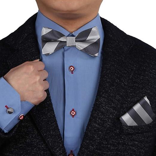 New formal men/'s pre tied Bow tie /& Pocket Square Hankie stripes Royal blue prom