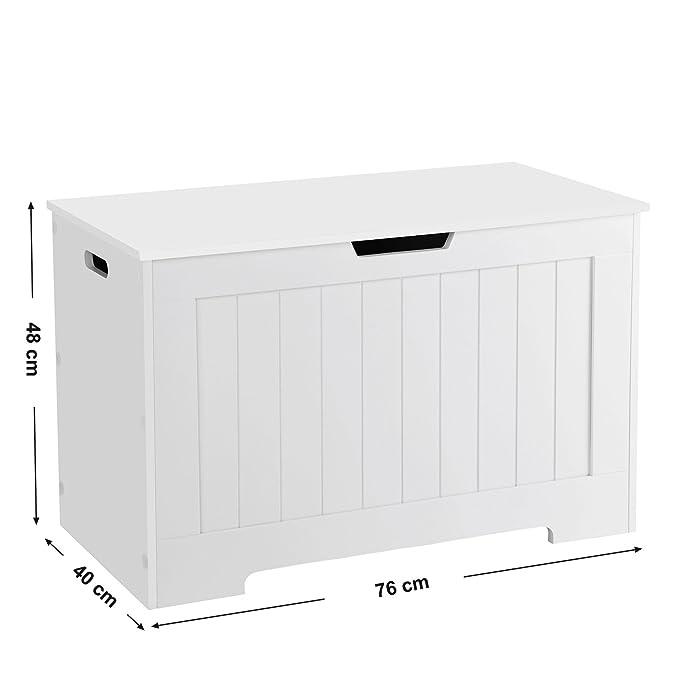 SONGMICS vasagle Juguete Caja baúl Banco Espacio Asiento baúl Asiento Banco baúl con Gran Capacidad Blanco lhs11wt, Madera, 76 x 48 x 40 cm (B X H X T): ...