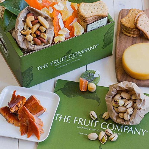 The Fruit Company Salmon Snack Gift Box - Alaska Sockeye Salmon, Smoked Roasted Garlic Cheese, Mixed Nuts, Pistachios, Honey Wheat Crackers & Tropical Trail Mix (Best Cheese With Smoked Salmon)