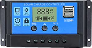 30A Solar Charge Controller, Solar Panel Charge Controller 12V 24V Dual USB Charge Regulator Intelligent, Adjustable Parameter Backlight LCD Display and Timer Setting ON/Off Hours(30A)