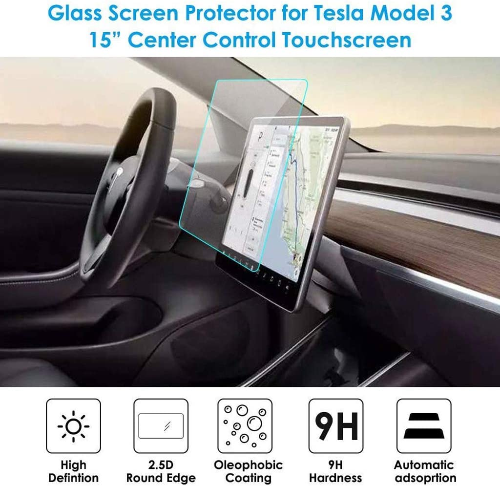 MNJ MOTOR 15 Inch Center Control Touchscreen Navigation Touch Screen Protector fit for Tesla Model 3 9H Tempered Glass Waterproof Anti-Scratch Shock Resistance