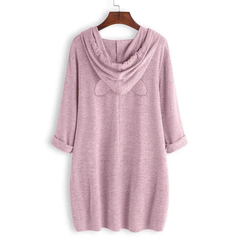 AMUSTER Maglione Magliette Camicia Donna Elegante Casual Lunga Autunno Inverno Maglietta Irregolare A Maniche Lunghe con Tasca Stampa