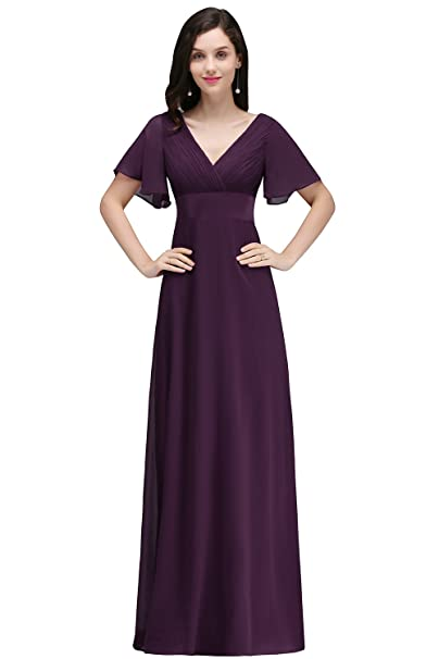Babyonlinedress Vestido para Fiesta de Bodas Vestido Morado de tul Largo y Elegante Talla 46
