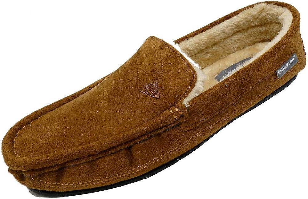 Pantuflas Dunlop estilo mocasín para hombre con forro de piel de oveja sintética