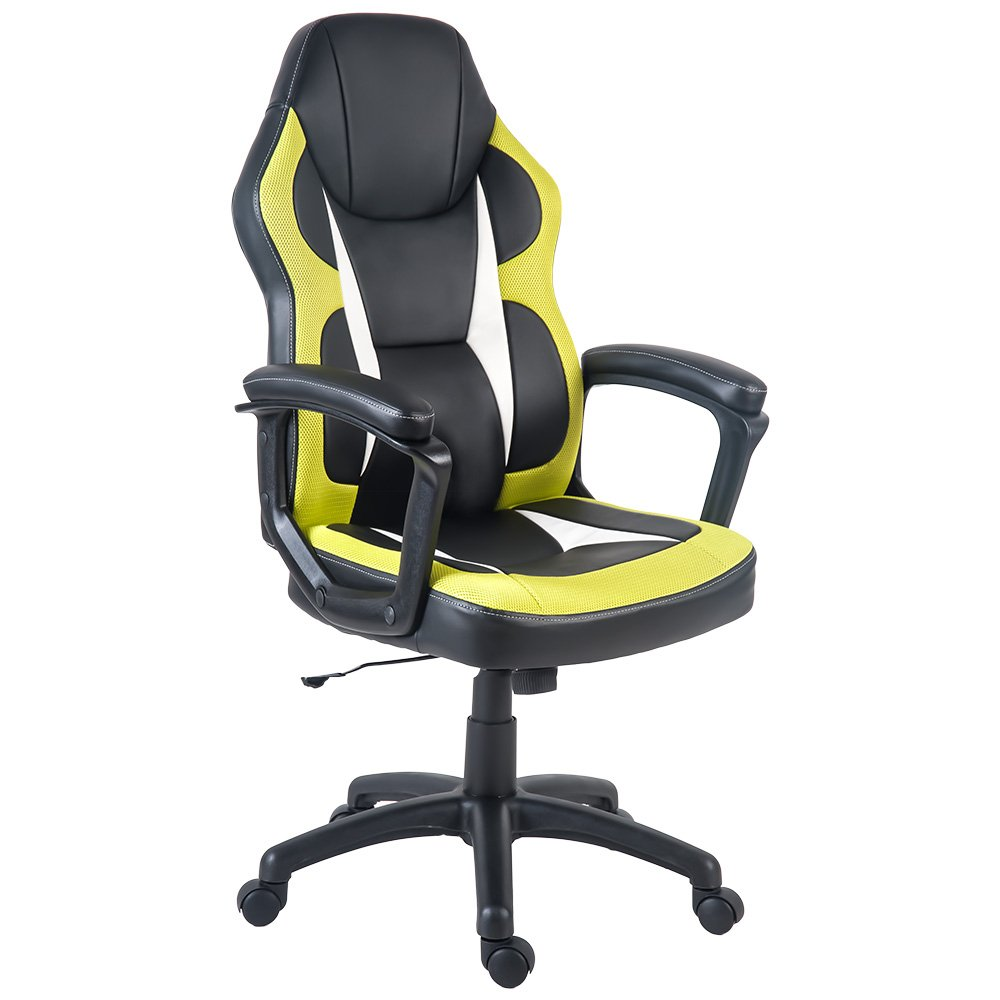 Merax Racing Gaming Style Task Chair for Home and Office PU Leather and Mesh (Green)
