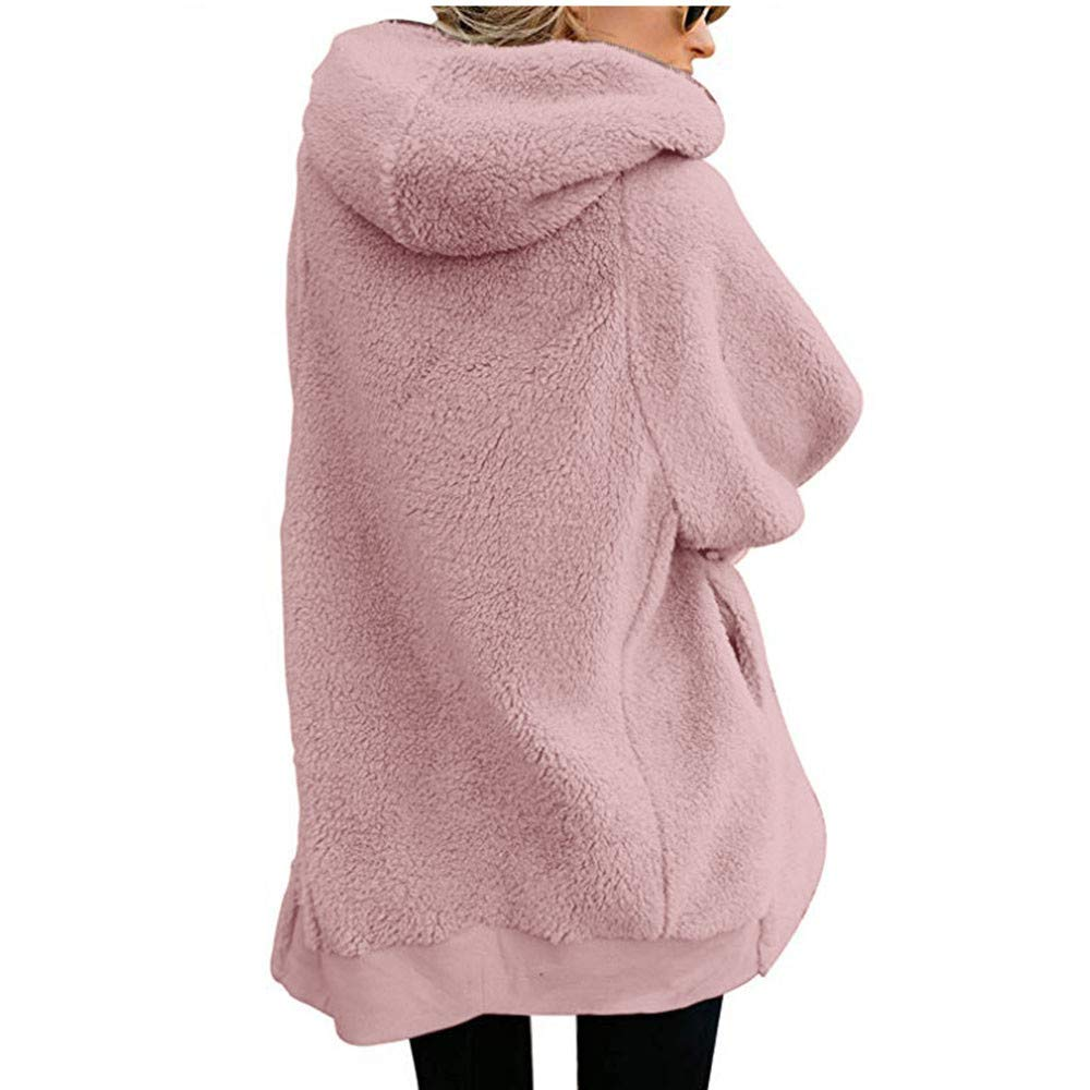 Womens Hooded Fluffy Coat Plain Zip up Cardigans Ladies Casual Baggy Outwear with Pocket Viahwyt