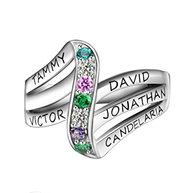 767f343ab7ac2 Quiges 925 Sterling Silver Mothers Birthstone Custom Personalized Engraved  Name Wave Stack Ring