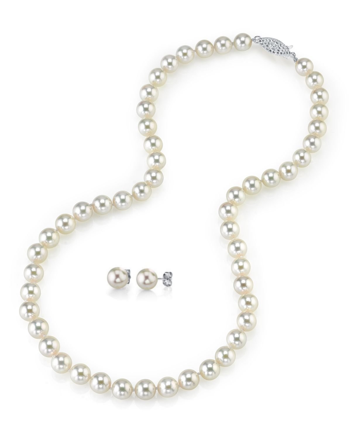 14K Gold 6.5-7.0mm White Akoya Cultured Pearl Necklace & Matching Earrings Set, 18'' Length- AAA Quality