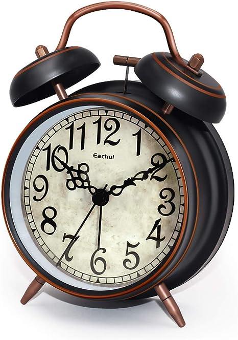Rétro Bruyant Métal 2 Bell Réveil Rétroéclairage Chiffres Arabes Rond Dail chambre à coucher
