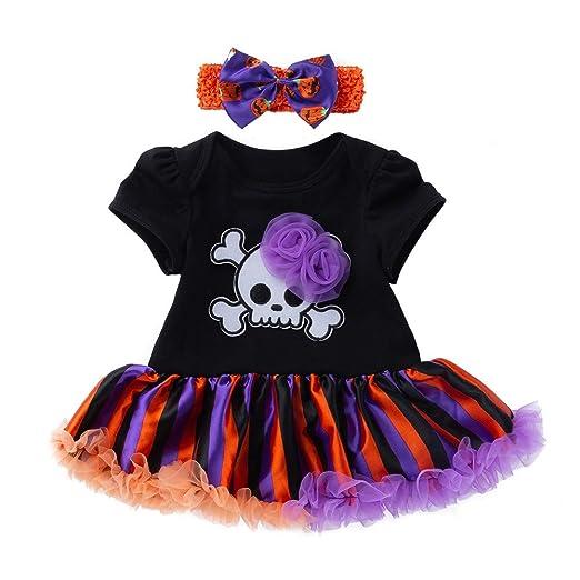 0fc73126367c Amazon.com  XUANOU Baby Girl Halloween Skull Short Sleeve Dress ...