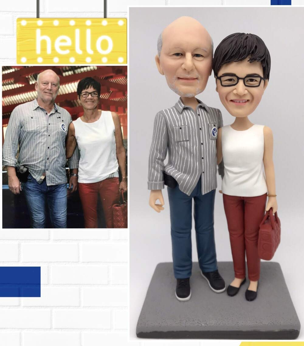Fully Custom Bobblehead Figurine Personalized Gifts Retirement Gift Anniversary Gift Based on Your Photos for Parents Gift,DHL Expedited Shipping Service