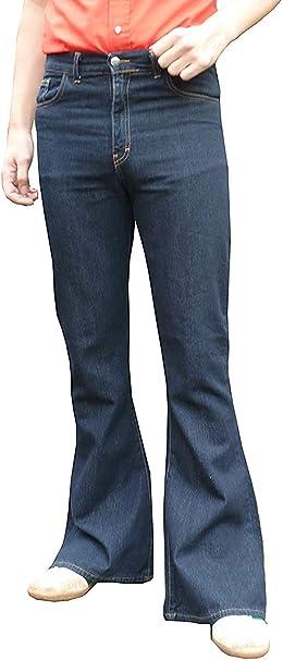 Denim Hommes Pattes D éléphant Fusées Jeans Taille Haute Années 60 Années 70 Mode Indie Hippie Bleu Amazon Fr Vêtements Et Accessoires