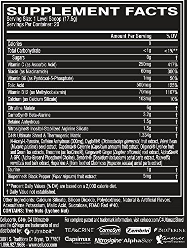 Cellucor C4 Ultimate Shred Pre Workout Powder, Fat Burner for Men & Women,  Weight Loss Supplement