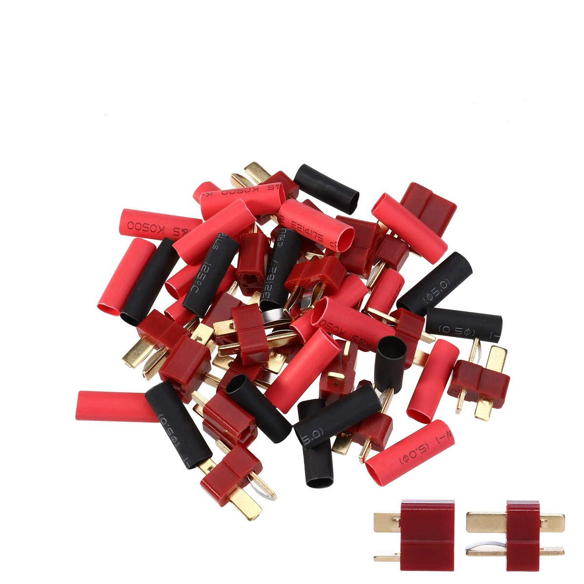 B072Q9SFNR UEETEK 10 Pairs Ultra T-Plug Connectors Deans Style Male and Female with 20pcs Shrink Tubing For RC LiPo Battery 618np2BSLgcL