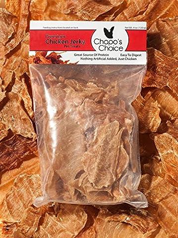 Jerky Dog Treats from Chapo's Choice - 100% Chicken - USA Made & Zero Fillers - 4 Oz. Protein - Italian Jerky