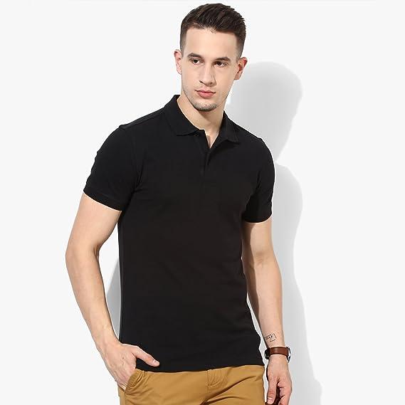 202e5f764b7 Wild Thunder T Shirt - Half Sleeve Polo Neck Plain 100% Cotton T Shirt -  Solid Polo Cotton T Shirt - Black Half Hand Polo Neck Cotton T Shirt   Amazon.in  ...