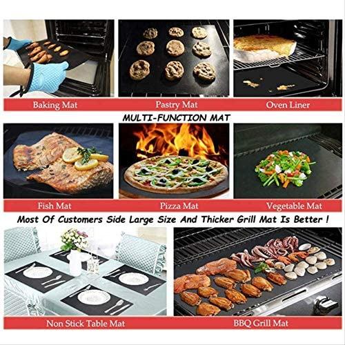 yitan Tapis de Cuisson Tapis Barbecue 40x50CM 5 Anti Stick Réutilisable BBQ Grill Mat Teflon Tapis de Cuisson pour Les travaux de Barbecue extérieur intérieur