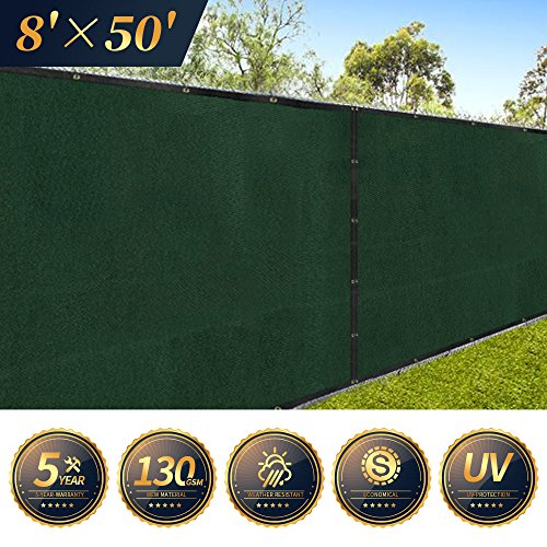 Amagabeli Fence Privacy Screen 8x50 for Chain Link Fence Fabric Screening with Brass Grommets Outdoor 8 ft Garden Patio Porch Construction Site Fencing 90% Blockage Shade Tarp Mesh UV Resistant Green