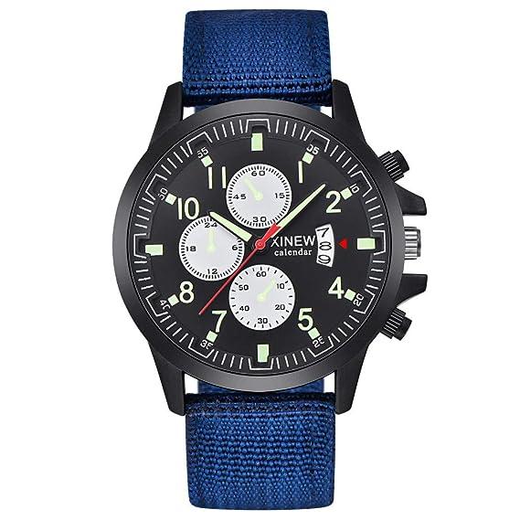 Bestow Reloj Militar Casual Militar del Acero Inoxidable de los Hombres de la Fecha Militar del Cuarzo de los Hombres(Azul): Amazon.es: Ropa y accesorios