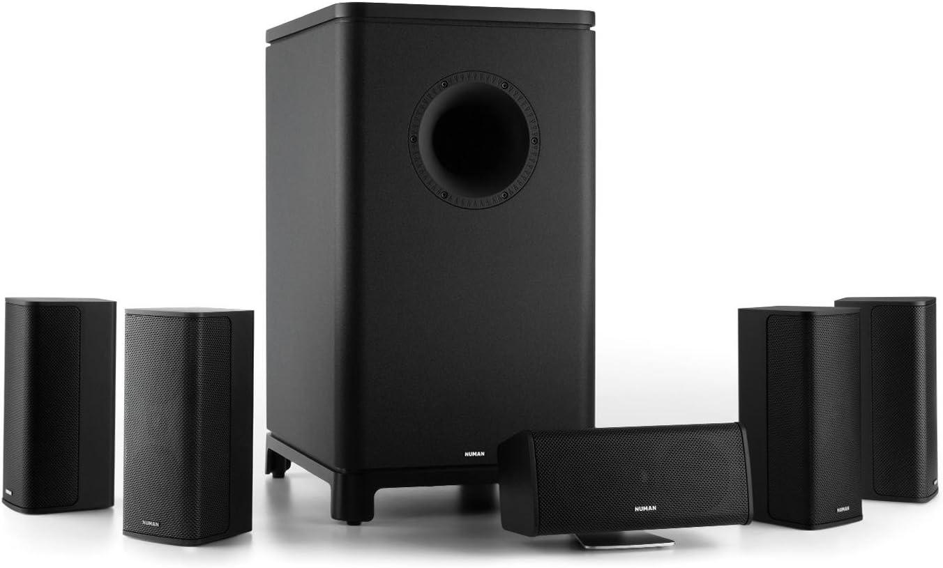 Subwoofer Activo Mono 25,4cm Negro Numan Ambience 5.1 Surround Sound System 4 Ohm Montaje en Pared 120W RMS 4 Altavoces sat/élites Home Cinema -Down-Firing 10