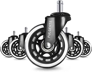 Fulgente Office Chair Caster Wheels(Set of 5), Heavy Duty Protection for Hardwood & Tile Floors Without Mat, Replacement Rubber Chair Casters Universal Fit 7/16 inch -Quick & Quiet Rolling Over Cables