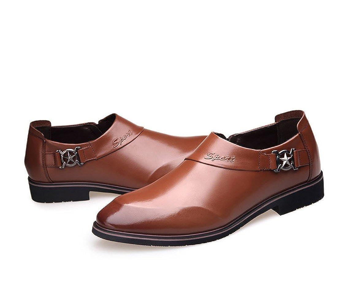 LEDLFIE Herren Schuhe Lederschuhe Herbst Business Kleid Schuhe Herren Glossy Casual Braun 83536a