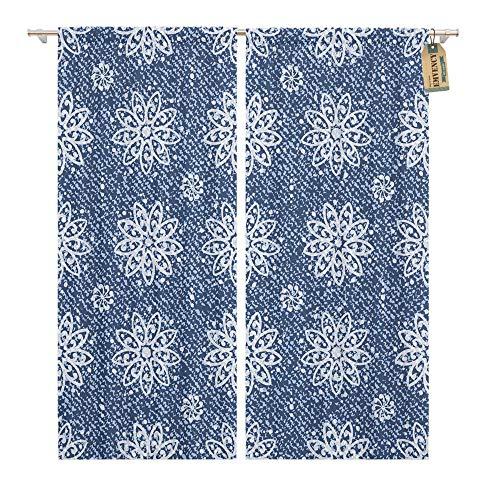 Emvency Window Curtains 2 Panels Rod Pocket Drapes Satin Polyester Blend Medallion Jeans Lotus Flowers Mandala Pattern Denim Blue Arabesque Living Bedroom Drapes Set 104 x 84 Inches