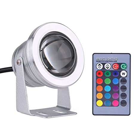Foco LED Subacuático, 10W 12V RGB Foco LED subacuático IP68 Impermeable para acuario de estanque