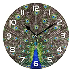 Dozili Animal Peacock Feather Decorative Wooden Round Wall Clock Arabic Numerals Design Non Ticking Wall Clock Large for Bedrooms, Living Room, Bathroom