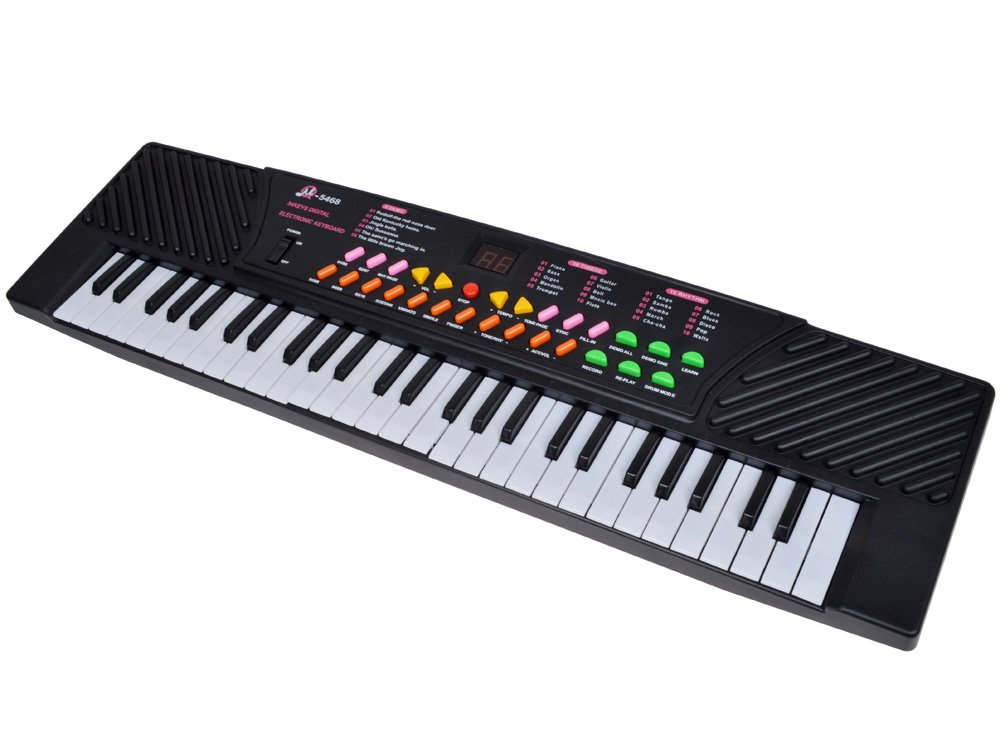 TMS 54 Keys Music Electronic Keyboard Kid Electric Piano Organ Record Playback W/Mic Black