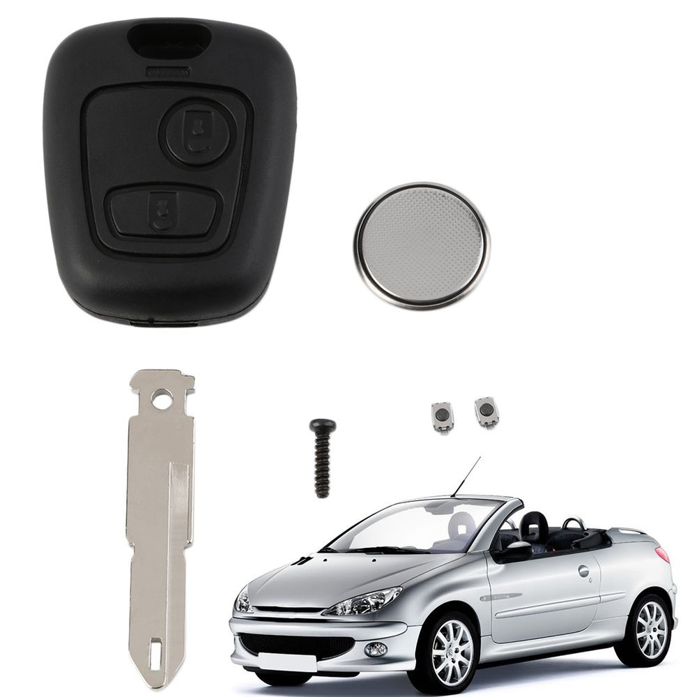 Emily New 2 Button Remote Key Fob Case Shell Blade Cell BatteryFor Peugeot 206 Key Black
