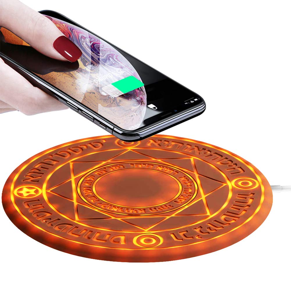 Magic Array Wireless Charger Pad,10w Qi Fast Ultra Slim Wireless Charging Pad for iPhone 8 / iPhone 8 Plus/iPhone X/XR/Xs Max/Samsung Galaxy S10/S10+/S9/S8/S7,All Qi-Enabled Phones(No AC Adapter)
