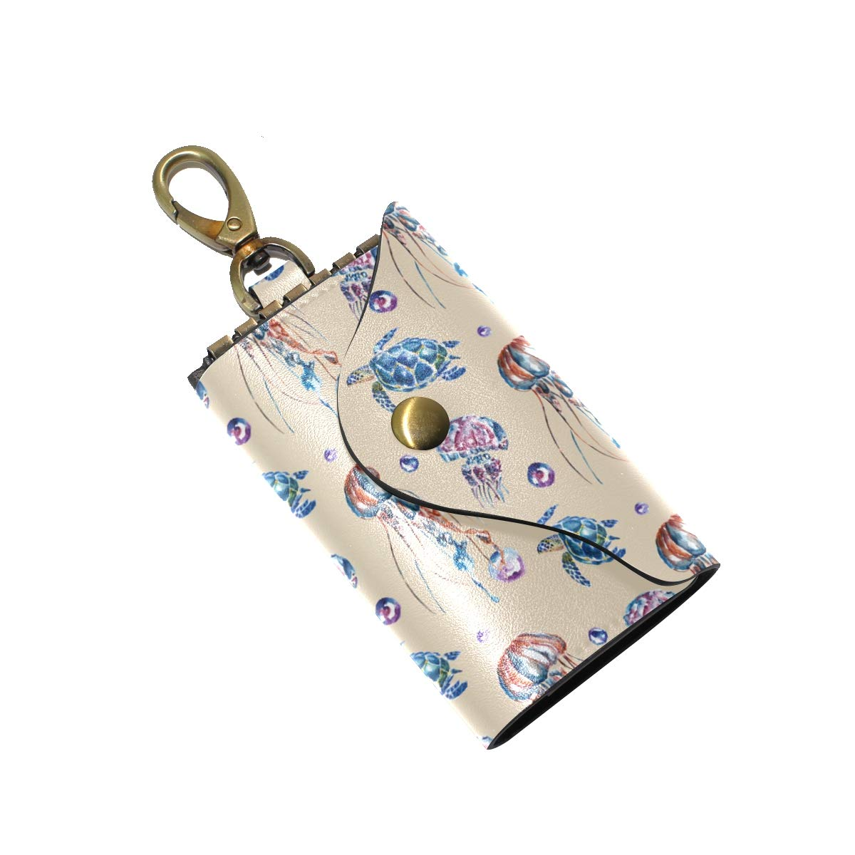 KEAKIA Jellyfish And Turtles Pattern Leather Key Case Wallets Tri-fold Key Holder Keychains with 6 Hooks 2 Slot Snap Closure for Men Women