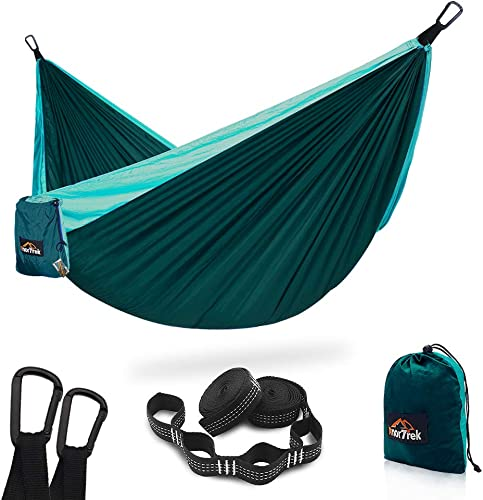 AnorTrek Camping Hammock, Super Lightweight Portable Parachute Hammock with Two Tree Straps Each 5 1 Loops , Single Double Nylon Hammock for Camping Backpacking Travel Hiking Blue Dark Blue