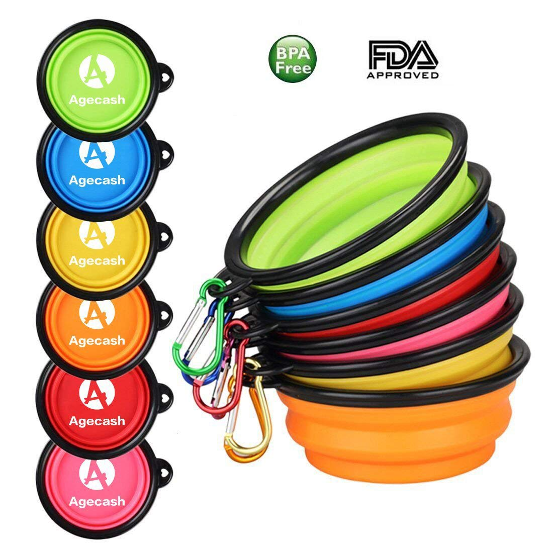 Agecash Collapsible Dog Bowl,6 Pack Silicone Portable travel dog bowls with Carabiner Clip, For Dog Cat Bowls-With 6-Color Set
