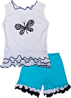 product image for Cheeky Banana Little Girls Dragonfly tee & Ruffle Shorts Turquoise,B&W