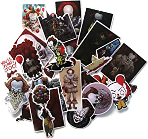 Horror IT Pennywise Themed 24 Piece Character Sticker Decal Set for Kids Adults - Laptop Motorcycle Skateboard Decals