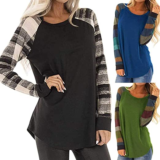 Womens Color Block Plaid Tunic Tops Crewneck Raglan Pullover Long Sleeve T-Shirt Casual Loose Shirt Blouses