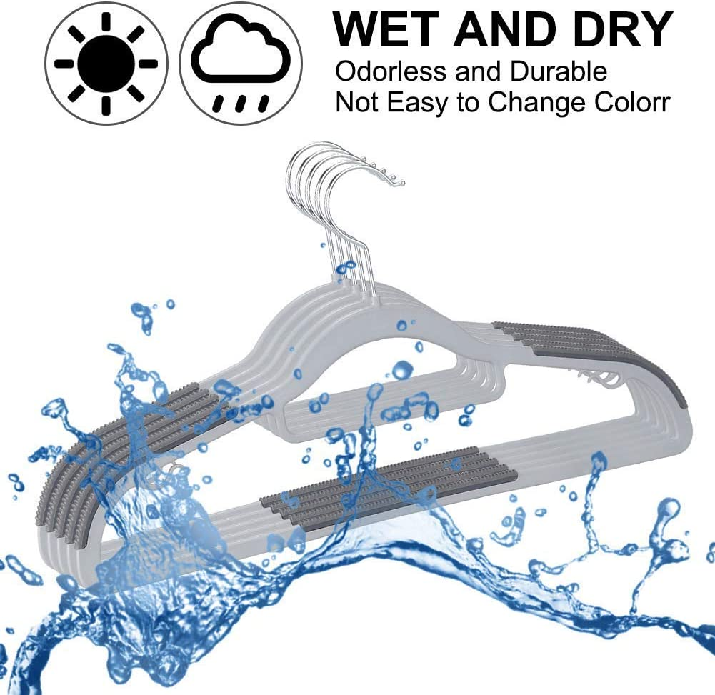 Renewed Upgraded Rubber Stripe Non-Slip Pants Hangers Gray 16.5 Inches OIKA Hangers Plastic 30pack Space Saving Coat Hanger 360/° Swivel Hook Clothes Hangers
