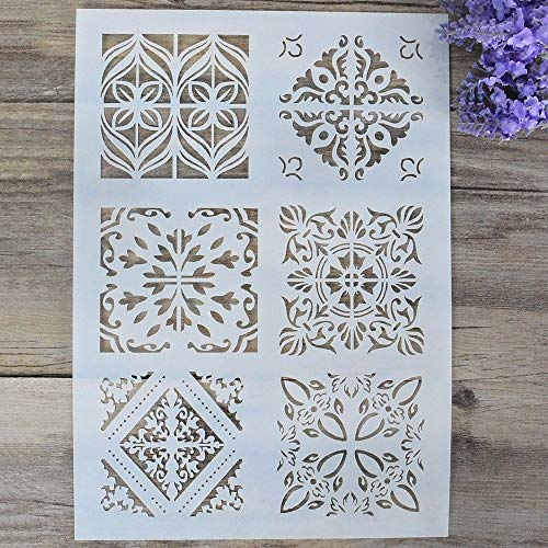 DIY Decorative Stencil Template for Painting on Walls Furniture Crafts (A4 -