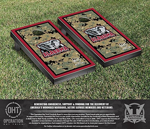 NCAA Alabama Crimson Tide Operation Hat Trick Border Version Cornhole Game Set by Victory Tailgate