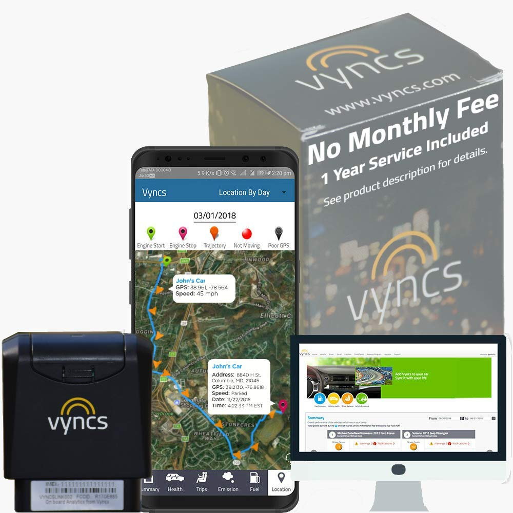 Vyncs: No Monthly Fee 3G Car GPS Tracker, Trips, OBD, Fuel Consumption, Engine Diagnostics, Driver Safety, Driver Coaching for Teens VYNCSLINK-001