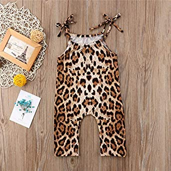 GOOMEMOO Toddler Baby Girls Sleeveless Leopard Straps Romper One-Piece Jumpsuit Summer Outfit
